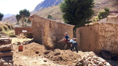 Cadets work alongside Bolivian Villagers to construct eco latrines.