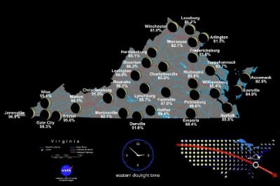 A map of Virginia showing stages of the Eclipse.