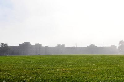A photo from the Parade Ground showing barracks in fog.