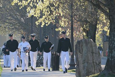 Cadets walk to class