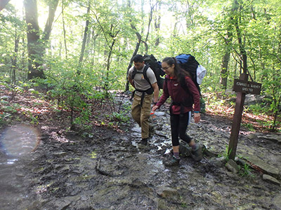 Basim Khan and another hiker on the Appalachian Trail.