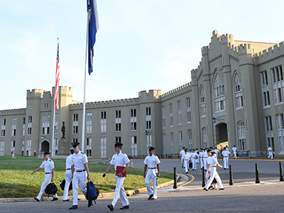 Cadets walk from barracks to class at VMI.