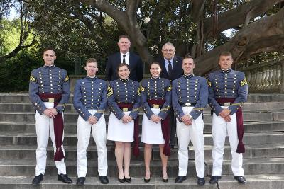 Cadets pause with their faculty advisors in San Remo, Italy.
