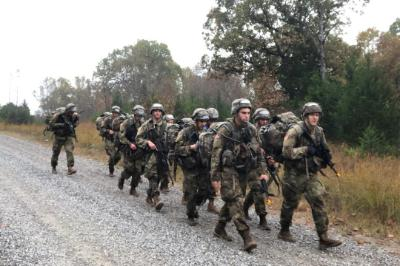 VMI cadets march in the Ranger Challenge competition.