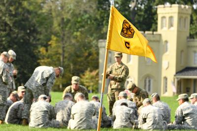 Cadets train on the VMI Parade Ground during fall 2018 field training exercises.