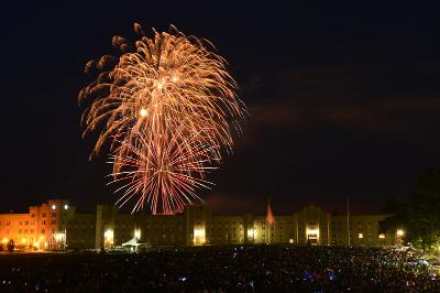 Fireworks fill the sky on July 4 as visitors watch from the Parade Ground.