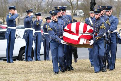 Cadets carry Jack Marsh to his final resting place at New Market battlefield.