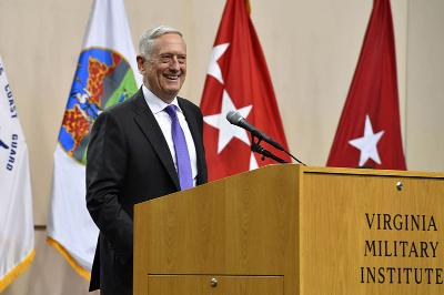 Secretary of Defense Mattis addresses the Corps of Cadets