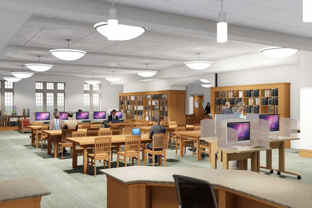 An architectural rendering of Preston Library's common area.